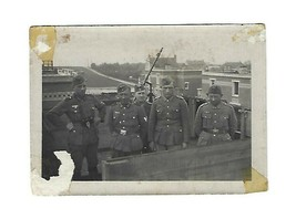 Old Vintage WWII German Photo Army Soldiers w/ MG34 ? Machine Gun on Rooftop - $25.00