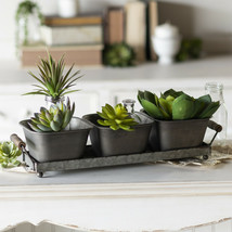 Triple Square Metal Planter Set on Galvanized Metal Tray with Wooden Han... - $55.95