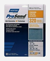 Norton ProSand SANDPAPER SHEETS 3 ct Finishing 320 Grit Fine All Surface... - $8.99