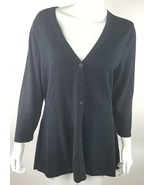 Isaac Mizrahi Live! Womens Medium Solid Black V-Neck Cardigan Sweater NWOT - $11.29