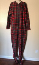 Red Plaid Adult Footie Pajamas Sleeper Footed Pajamas Adult Large Zip Fr... - $27.71