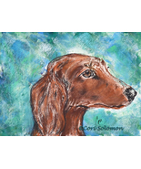 Dog Art Dachshund Hound Monotype Hand Pulled Print Solomon  - $45.00