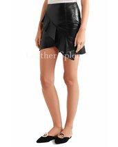 Assymetrical Hem Women Leather Mini Skirt