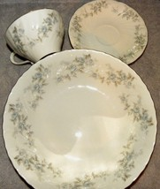 4 piece setting Royal M Yamaka Japan Blue Lace roses platinum plate bowl... - $20.53