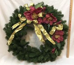 "Wreath 27"" Faux Pine Boughs Goldtone Ribbon Maroon Large Petal Flowers H... - $24.74"
