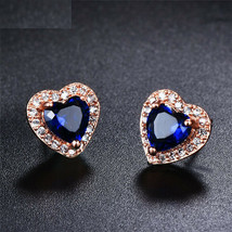 3.65Ct Heart Cut Blue Sapphire Halo Push Back Stud Earrings 14K Rose Gol... - $122.43