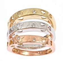 Diamond Stackable Women's Wedding Band Tri-Color 14k Gold - £356.79 GBP