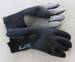Vintage 80s Black PIC Diving Scuba Gloves Size S Zip Closure Thick Glove  - $49.49