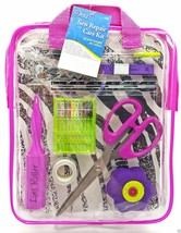 Sewing Repair Mend Kit Scissor Needle Thread Buttons Pins Pink Case Drit... - $14.99