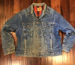 VTG Gap Jacket Sz XL Jean Denim Buffalo Red Plaid Flannel Lined Trucker Distress - $44.55