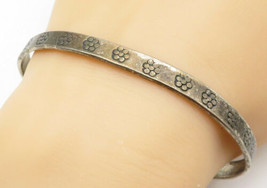 TAXCO 925 Silver - Vintage Antique Flower Pattern Bangle Bracelet - B5490 - $58.06
