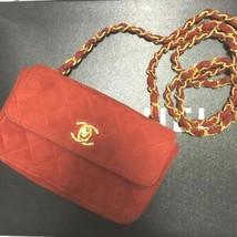 Auth CHANEL Shoulder Bag Red Mini Matelasse Vintage Crossbody Flap Logo ... - $1,178.10