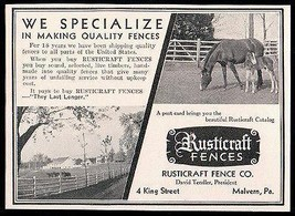 Fences Farm Horses Fencing 1934 Antique Ad Rustcraft Fence Company Malve... - $10.99