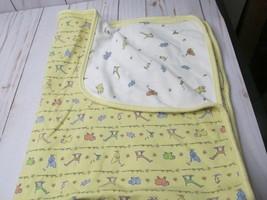VINTAGE Carters JOHN LENNON Yellow White Baby Blanket Animals Real Love ... - $29.69
