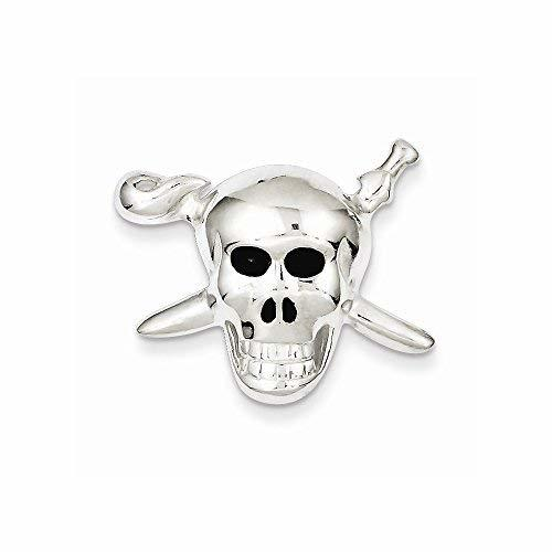 Primary image for Sterling Silver With Enamel Skull With Cross Bones Pendant