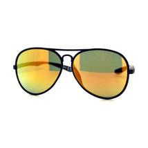 Soft Flexible Matted Frame Aviator Sunglasses Multicolor Mirror Lens Unisex - $8.95