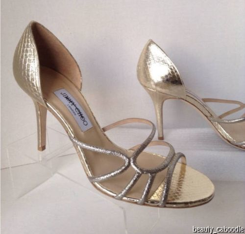 NEW Authentic JIMMY CHOO Straits D'Orsay Gold Sandals (Size 40.5) - MSRP $795.00