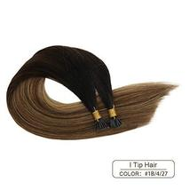 Ugeat 16 Inch Keratin Tipped Human Hair Extensions 0.8g/Strand Color #1B/4/27 Ba image 4