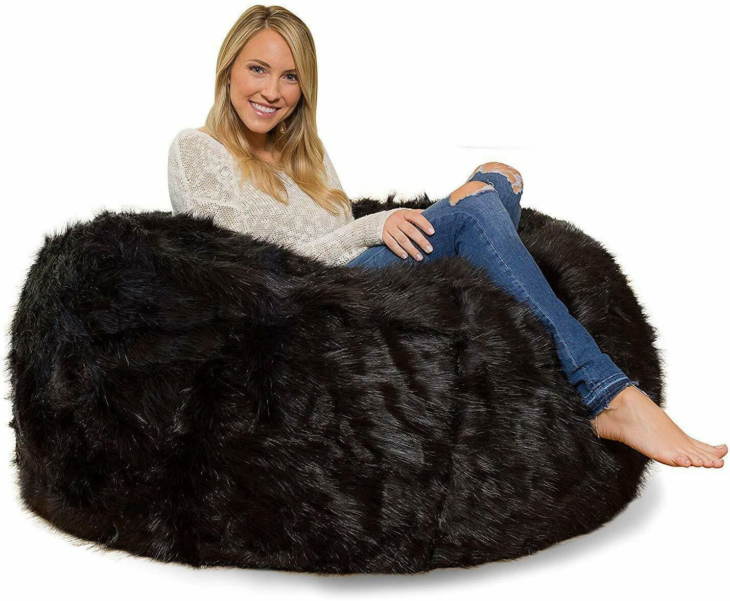 Leather Fur U and I Design Bean Bag and Cover, XXXL/9mm (Black) Free Shipping image 4
