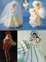 5X Barbie Clothes Royal Wedding Dress Tiara Bag Crochet Flower Baskets P... - $9.99
