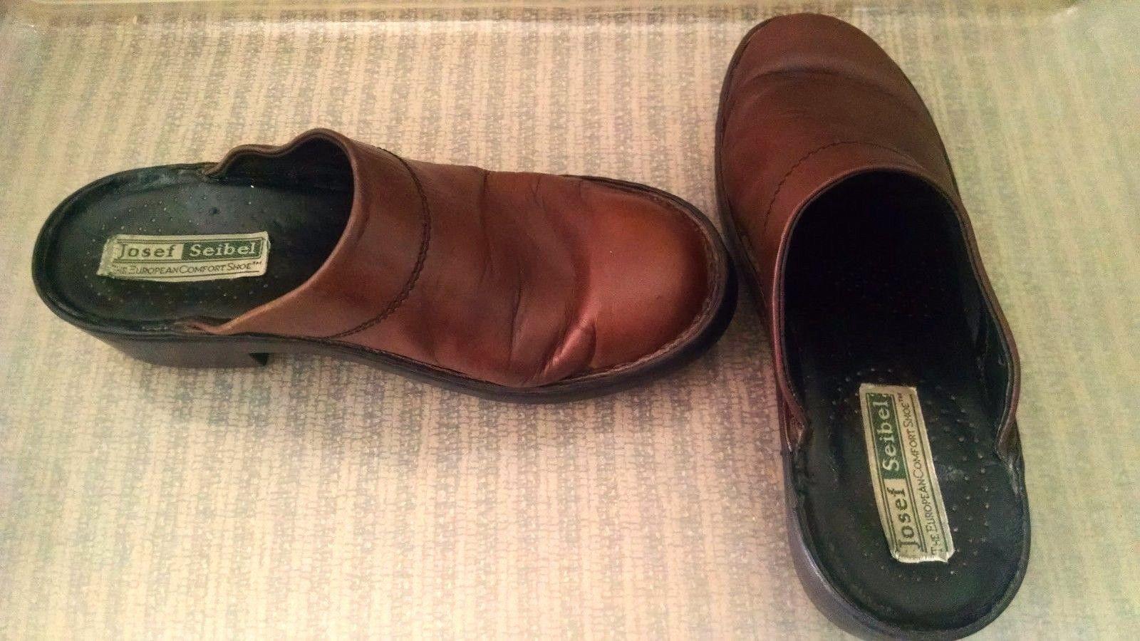 Josef Seibel Womens Clogs 38 EU 7 - 7.5 US Mules Slip On European Comfort Shoe