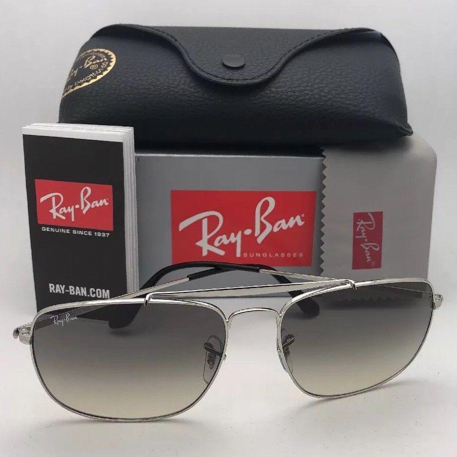 RAY-BAN Sunglasses THE COLONEL RB 3560 003/32 58-17 Silver Aviator w/ Grey Fade image 11