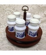 Vintage, Rare 7-pc Milk Glass, Blue Willow Spice Jar Set with Wooden Stand - €83,84 EUR