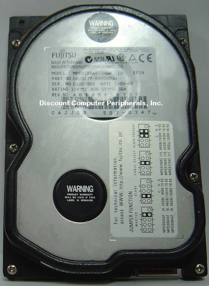 Fujitsu MPD3108AT 10GB 3.5in IDE 40PIN Drive Tested Good Free USA Shipping