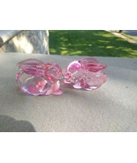 New LENOX Easter Pink Glass Bunny rabbit  Taper Candle Holder Set Of 2 - $24.00