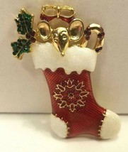 Signed Lc Christmas Brooch Pin Big Eared Mouse In A Red Stocking/Stoned Holly - $23.71