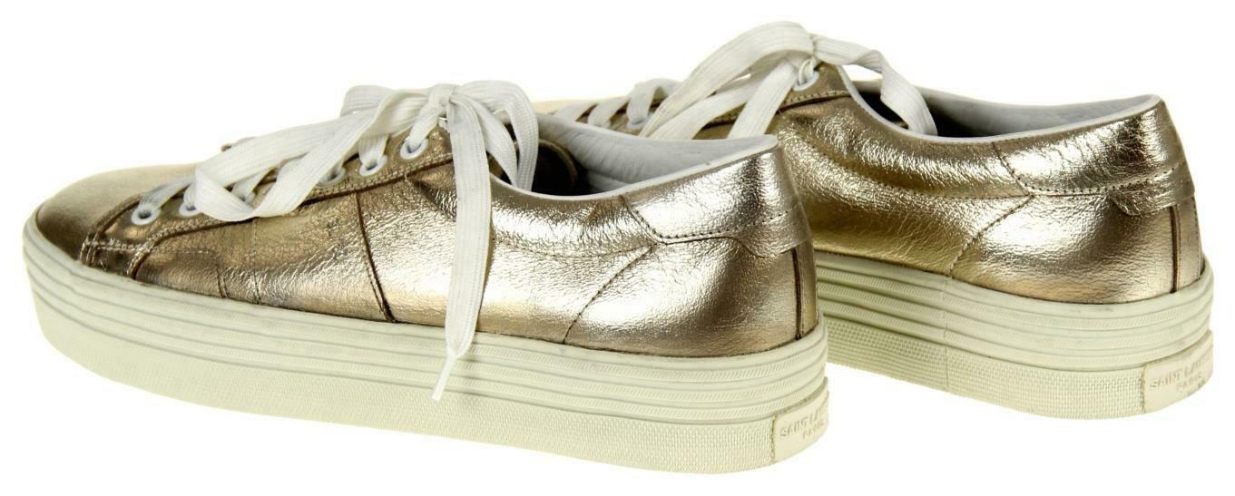 Saint Laurent Women's Metallic Gold Court Classic Low Top Sneakers Shoes 39