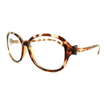 Bow Ribbon Curved Temple Oval Round Clear Lens Eye Glasses - Tortoise - $7.95