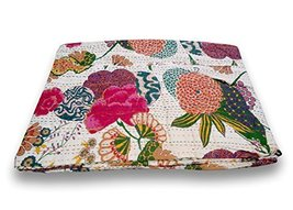 traditional fabrics Indian Kantha Bed Cover Throw Vintage Bedding Quilt ... - $53.75