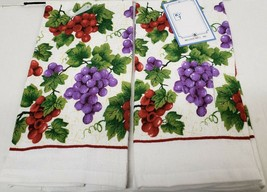 "Set of 2 Same Printed Kitchen Towels (15"" x 25"") PURPLE & RED GRAPES by ... - $10.88"