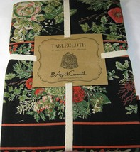 "April Cornell Vibrant Floral on Black Cotton Tablecloth 70"" Round - $39.99"
