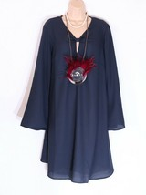New Women's I.SCENERY Long Sleeve A-line Swing Midnight Blue Dress Tunic... - $42.61