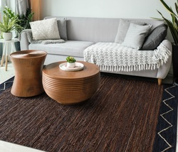 Handmade HEMP & RECYCLED LEATHER Area Rugs, 120x180cm to  8'x10' Brown A... - $139.00+