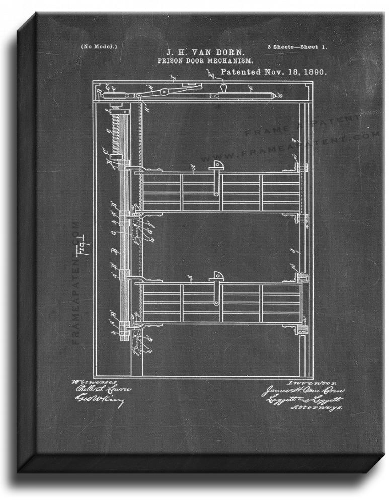 Primary image for Prison Door Mechanism Patent Print Chalkboard on Canvas