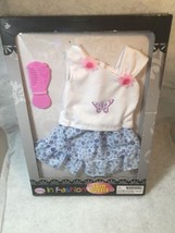 "Doll Clothes by Uneeda Doll Fashions 18""  White top and Floral Skit and Comb - $10.99"