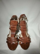 Franco Sarto Womens Brown Leather Pumps Heels Size 7 1/2 M Buckles 4 Inc... - $35.52