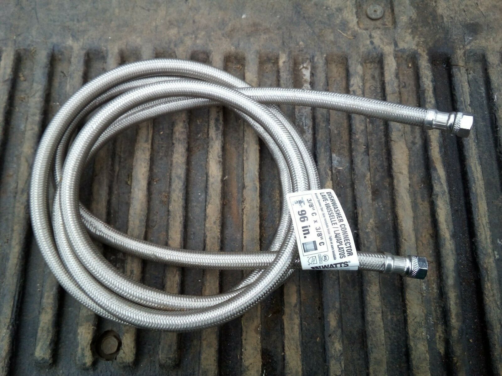 "Primary image for 9SS98 DISHWASHER SUPPLY HOSE, WATTS: 96"" X 3/8"" COMP X 3/8"" COMP, GOOD CONDITION"