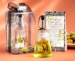 Wedding Favors Olive You Glass LOVE Oil Bottle in Signature Tuscan Box - $7.86