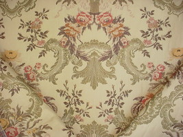 8Y LEE JOFA RUST BRASS BARK GOLD FLORAL BROCADE DRAPERY UPHOLSTERY FABRIC - $158.40