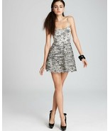 Parker $228 Mesh Stripe Insert Ivory Black Abstract Fit & Flare Party Dr... - $14.03