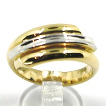 18K YELLOW WHITE GOLD BAND RING, TRIPLE TUBE, ROUNDED, BICOLOR image 2