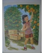 Girl Picking Oranges - Farm Children Art Print - Vintage David C Cook Litho - $11.38
