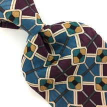 BILL BLASS USA TIE GEOMETRIC TURQUOISE Brown GRAY Silk Necktie Ties I11-580 - $15.83
