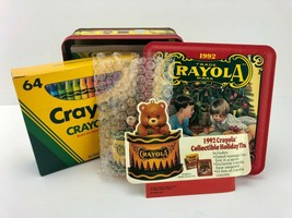 Crayola 1992 Holiday Nostalgic Tin Ornamental Box 64 Crayons Set - New Open Box - $8.59