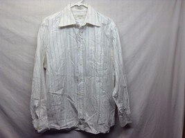 Eight Avenue White Shirt w Blue Vertical Lines and White Embroidery Sz LG