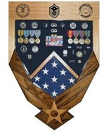 AIR FORCE LOGO LASER TOP WALNUT MILITARY AWARD SHADOW BOX MEDAL DISPLAY ... - $360.99